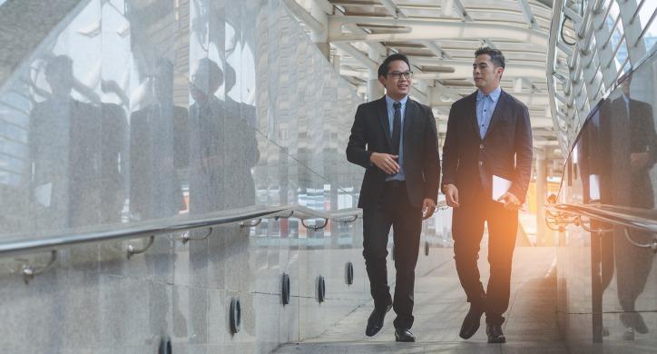 employees walking in hallway