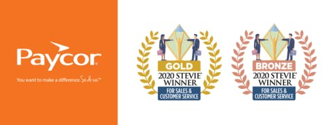 Paycor Wins a Gold and a Bronze Stevie® Award for Sales and Customer Service