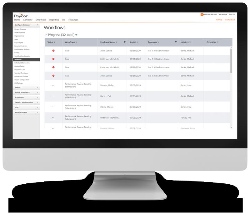 hr workflows system screenshot