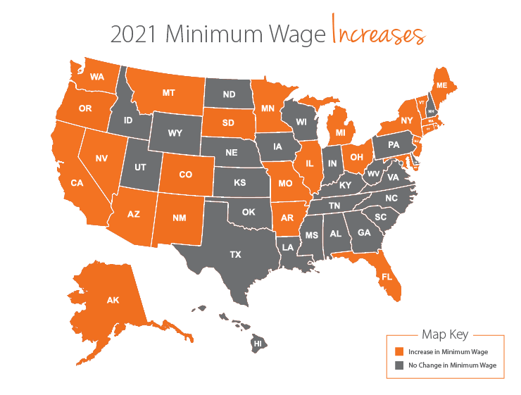 states changing minimum wage rates in 2021
